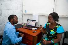 A private provider counsels a client on family planning options.
